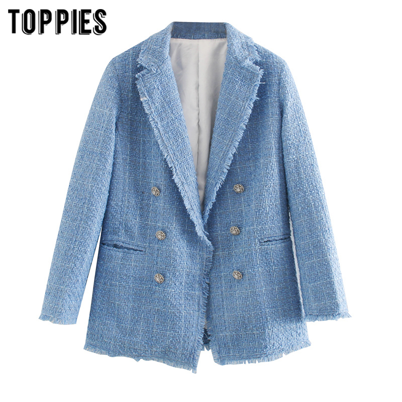 Toppies 2020 Blue Twill Tweed Jacket Vintage Lattice Women Suit Jackets Ladies Asymmetrical Double Breasted Coat