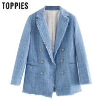 Toppies 2020 Biru Twill Jaket Tweed Vintage Kisi Wanita Jaket Jas Wanita Asimetris Double Breasted Mantel(China)
