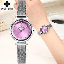 Wwoor/маленькие женские часы роскошные брендовые Модные кварцевые