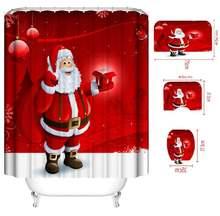 4 шт душевой Шторы Рождество Санта Клаус Водонепроницаемая занавеска
