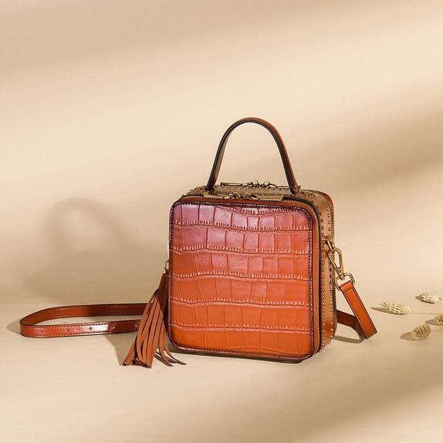 Crocodile Pattern Genuine Leather Ladies Mini Square Box Handbag Zipper Closure Fringe Tassel Women Female Studs Shoulder Bag