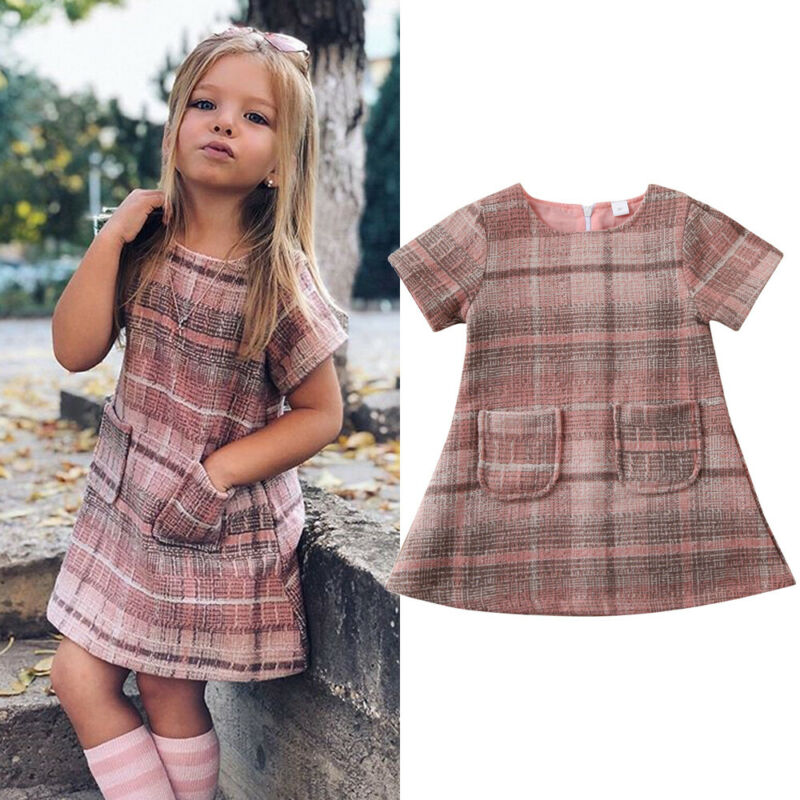 US Toddler Baby Girls Dress Princess Pageant Party Plaids Tassel Dress Clothes