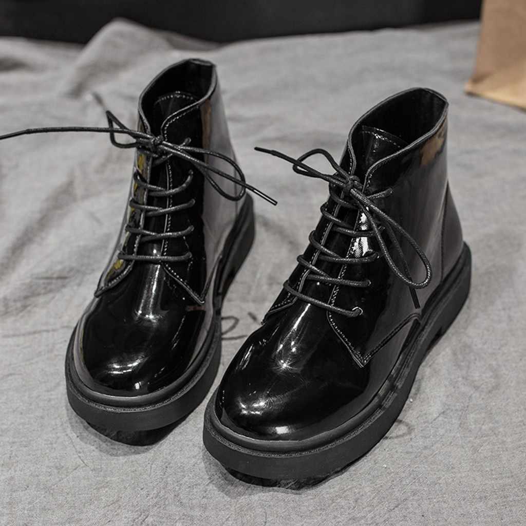 Temel Martin kısa çizmeler kadın moda deri katı kalın dantel-up katı renk bayanlar kız kısa yarım çizmeler zapatos de mujer