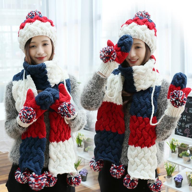 Hat Scarf Glove Set Women Winter Warm Pompoms Wool Knitted Beanies Patchwork Tassels Crochet Baggy Long Scarves X-mas Gift