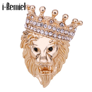 Animal Lion Brooch Rhinestone Crystal Crown Lapel Pin Coat Suit Badge Corsage Fashion Jewelry for Women and Men Accessories