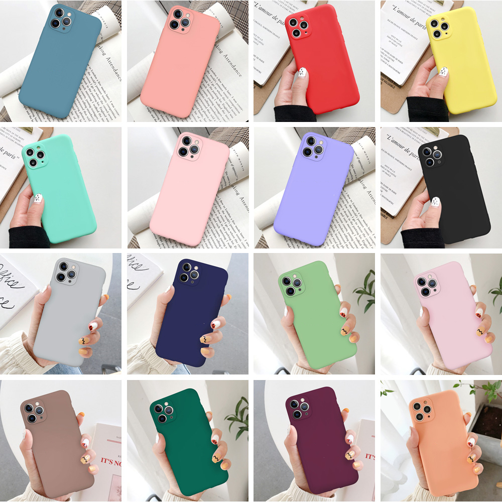 Leuke Candy Matte Matte Frosted Phone Case voor iPhone 11 Pro Max 7 8 Plus SE 2 SE2 TPU Silicone Soft Cover voor iPhone Xs Max XR X