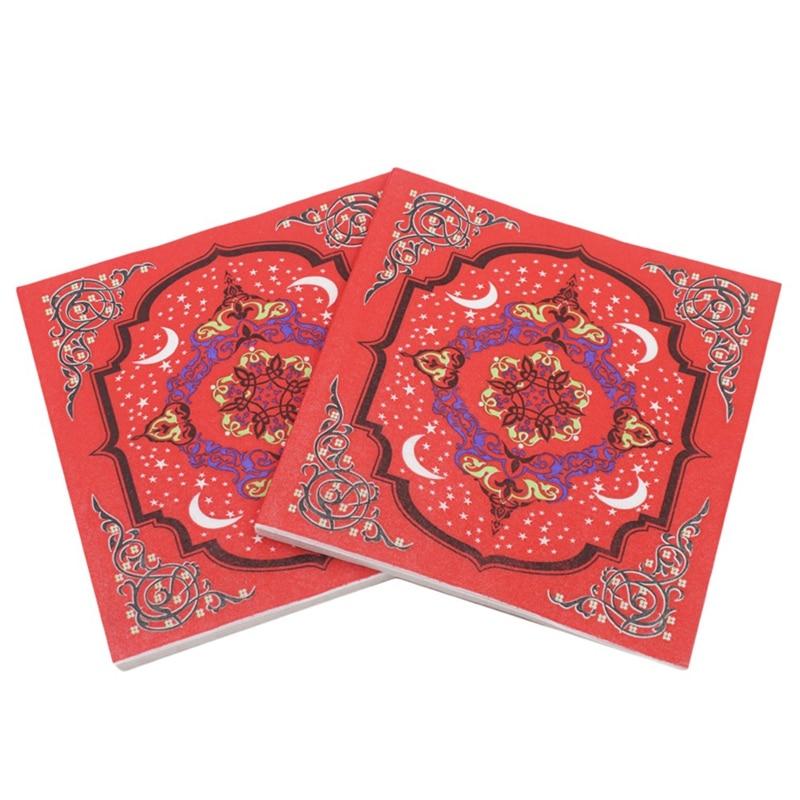 Ramadan Kareem Paper Napkin With Lamp Print Islamic Month For Muslim Eid Al-Fitr(Type-6)