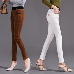 Elastic High Waist Corduroy Pencil Pants Women Office Lady Skinny Skim Trousers Female Patchwork Casual Pants Spring Autumn