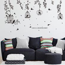 Black Bird Cage and Leaves Silhouette Patterns Wall Stickers TV Background Wall Sticker Decorative Dining Hall Room Decoration sweet bird cage pattern removeable waterproof decorative wall sticker