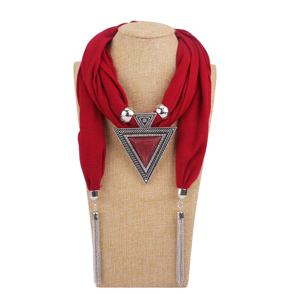 New Pendant Scarf Necklace For Women Long Tassel Black / White / Khaki Cotton Necklaces Necklaces Jewelry Gift