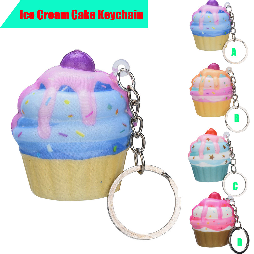 Mini Slow Rising Toy Adorable Ice Cream Cake Scented Cream Elastic PU Keychain Stress Reliever Toy Squeeze FH5