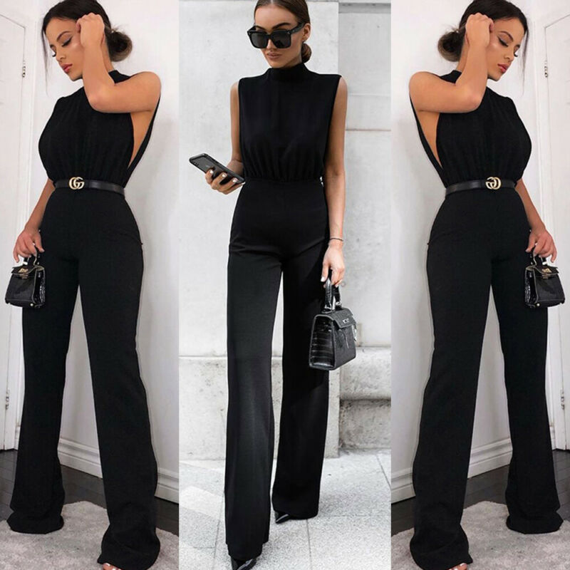 Summer Women Sleeveless Jumpsuit Turtle Neck Wide Leg Long Trousers Pants Empire Slim Black White Jumpsuits
