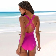 2019 New Arrival One Piece Swimsuit Women Vintage Bathing Suits Plus Size Swimwear Beach Padded Print Swim Wear Solid Monokinis