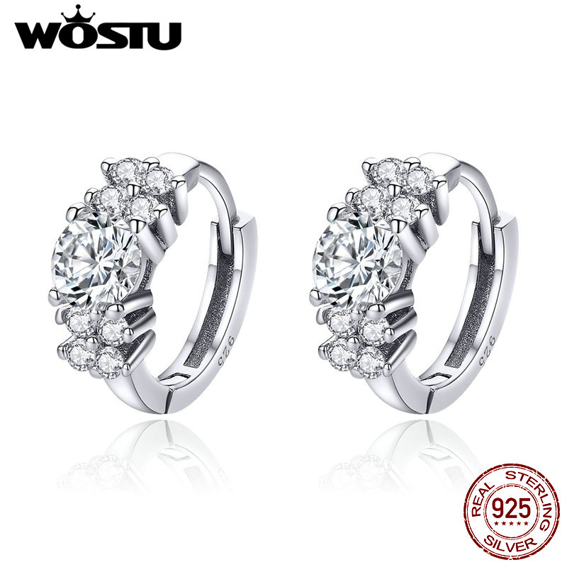 WOSTU Hot Sale 925 Sterling Silver Streamers Shining Petals Hoop Earrings For Women Engagement Wedding Fashion Jewelry CQE485