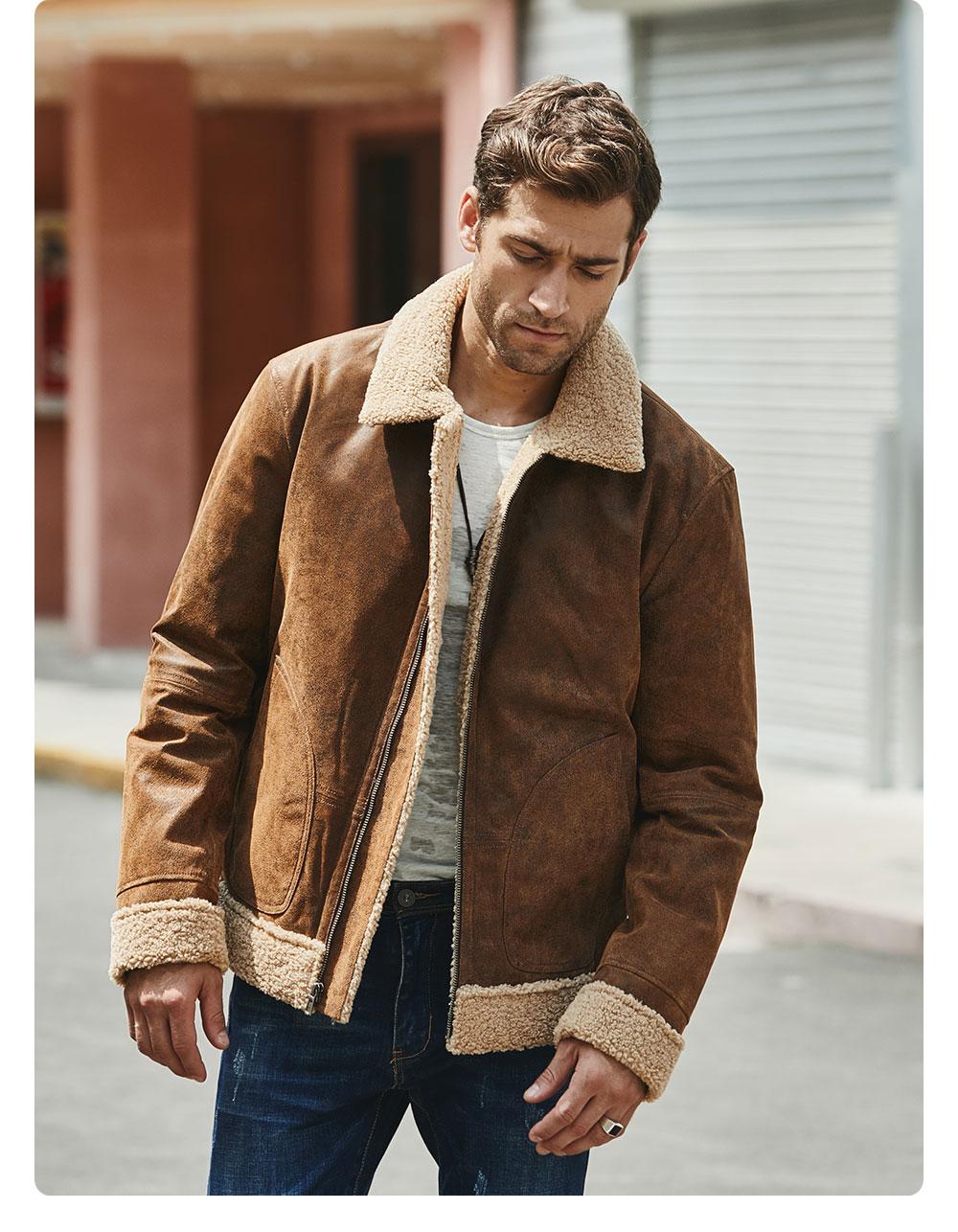 H782bc77aeeb74341b9fb98d010fa8630k New Men's Real Leather Jacket Faux Fur Collar Genuine Leather Jacket