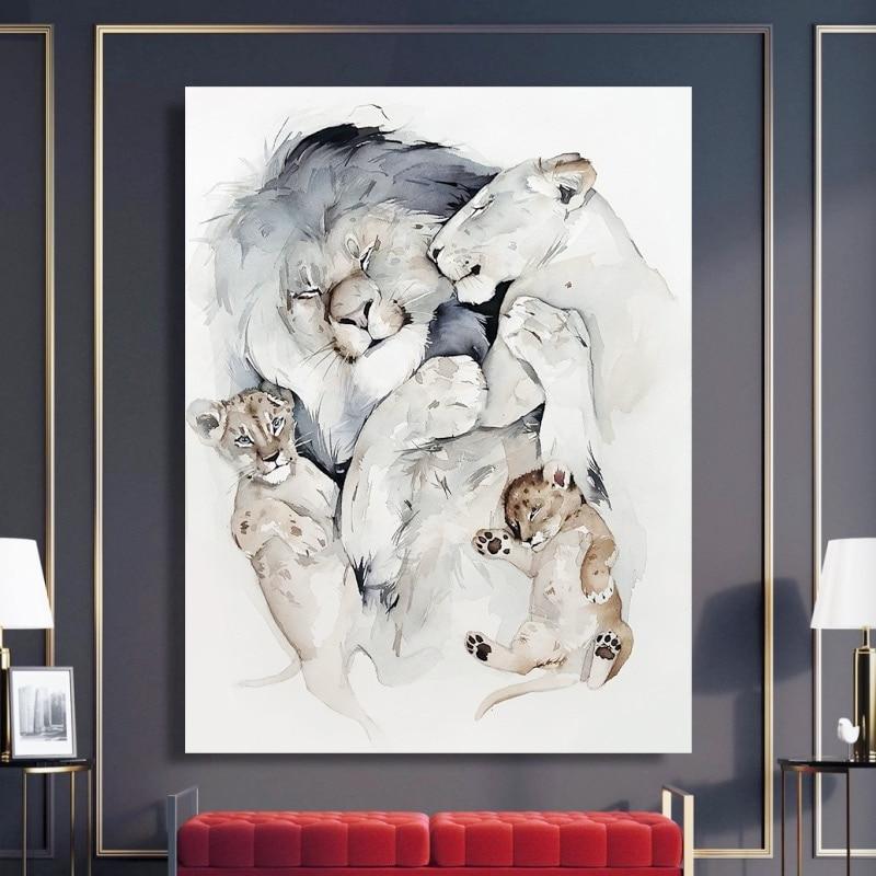 Настенные плакаты с изображением картины на холсте прекрасная семья Львов Печать на холсте плакат декоративная животная картина в скандин...