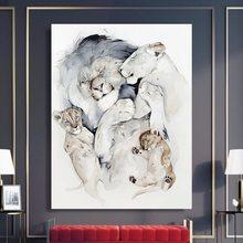 Parede pictur cartazes pintura em tela uma linda família de leões quadros em tela cartaz decorativo impressão animal estilo nórdico