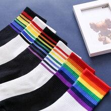 Fashion Socks Rainbow Christmas-Gift Harajuku Funny Warm Stripes Cotton Women Cute Casual