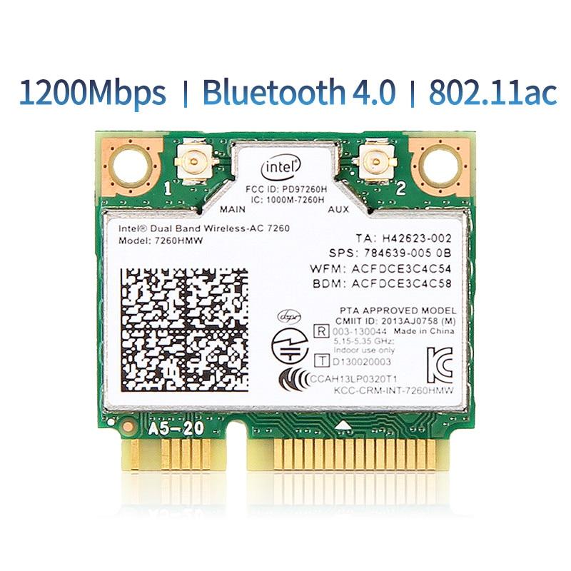 1200Mbps Dual Band 802 11AC  for Intel7260 7260AC 7260HMW 2 4 5GHZ 867M Wifi Bluetooth 4 0 Mini PCIe Wireless Network Wlan Card