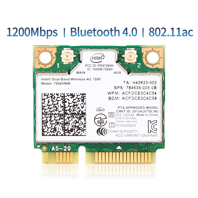 1200Mbps Dual Band 802.11AC  for Intel7260 7260AC 7260HMW 2.4/5GHZ 867M Wifi Bluetooth 4.0 Mini PCIe Wireless Network Wlan Card