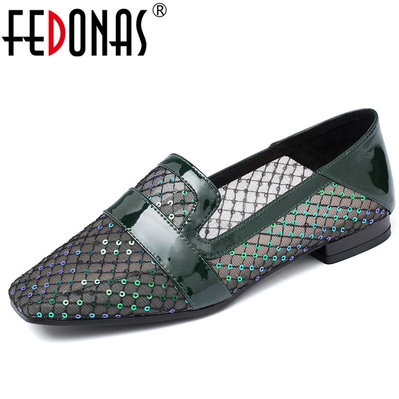 FEDONAS 2020 Spring Summer New Elegant Retro Women Shoes Embroider Mesh Sequined Grid Square Toe Low Heel Slip-on Shoes Woman