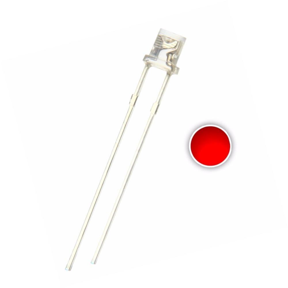 100pcs 3mm Red LED Flat Top Light Emitting Diode Lamp Transparent 620-625nm 3 Mm Clear Lens 20mA 2V Wide Angle