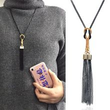 Hello Miss New simple wild long tassel necklace womens sweater chain accessories fashion jewelry
