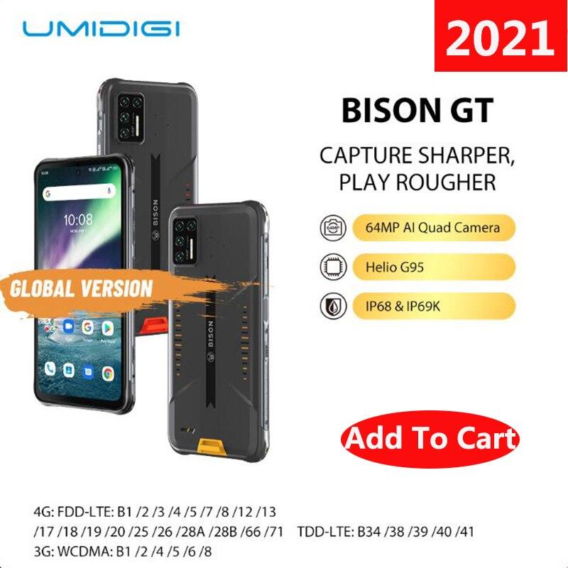 """Umidigi bison gt smartphone à prova dip68 água ip68/ip69k áspero telefone 64mp ai matriz quad câmera 8gb + 128gb 6.67 """"fhd + 33w carregador rápido"""