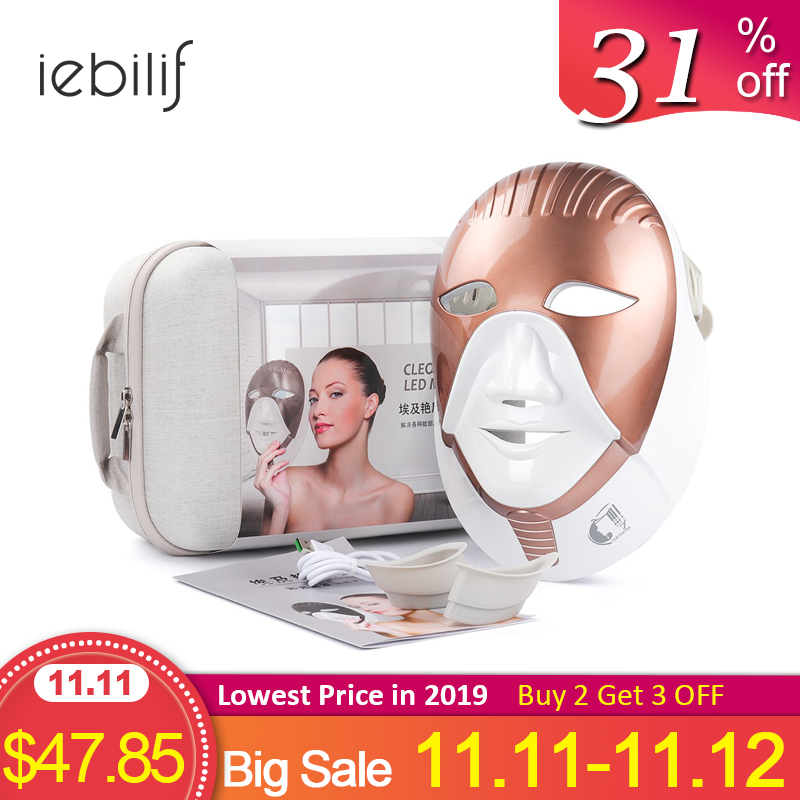 LED Mask Beauty Device Rechargeable 7 Colors Led Mask With Neck Skin Care Wrinkle Acne Removal Skin Rejuvenation Face Care Tool-in LED Mask from Beauty & Health