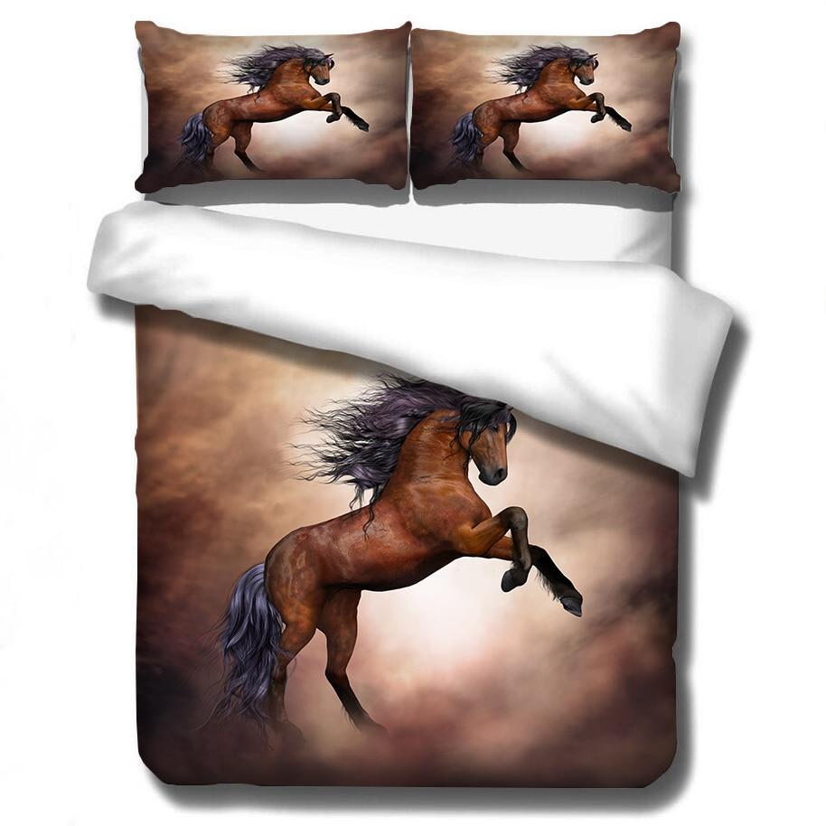 Gallant Horse 3D Printed Bedding Set Duvet Cover Pillowcases Comforter Bedding Sets Bedclothes Bed Linen (NO Sheet)