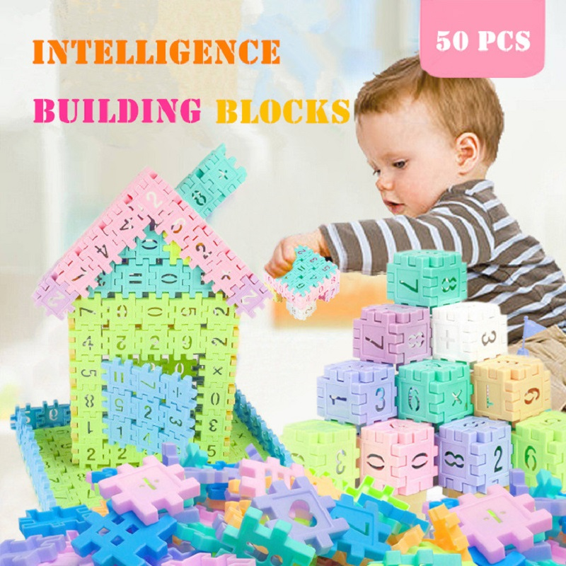 50pcs Kids Building Blocks Children Puzzle Assemble Building Blocks Early Educational Toys Creative DIY Toys