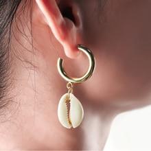 New DIY Sea Shell Pendant Earrings Women Brincos Handmade Gold Earrings Statement Gift Jewelry Bohemian Fashion Jewelry Gifts