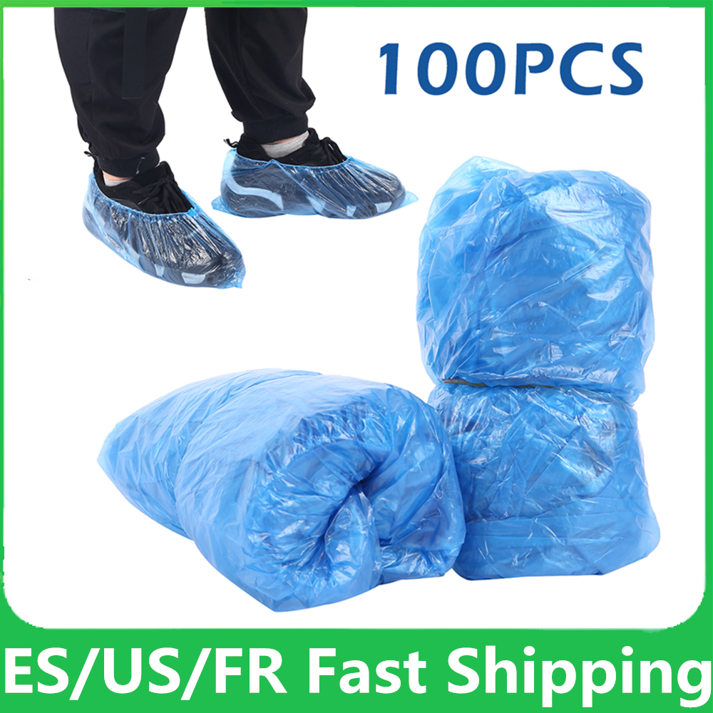 100Pcs Disposable Shoe Dust Covers Pouch Plastic Waterproof Shoes Cover Organizer Rainy Day Outdoor Cleaning Shoe Covers Bags