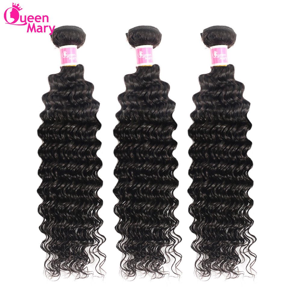 Brazilian Hair Weave Bundles Deep Wave Bundles 3 Or 4 Pcs/Lot 100% Human Hair Bundles Queen Mary Non-Remy Hair Extensions