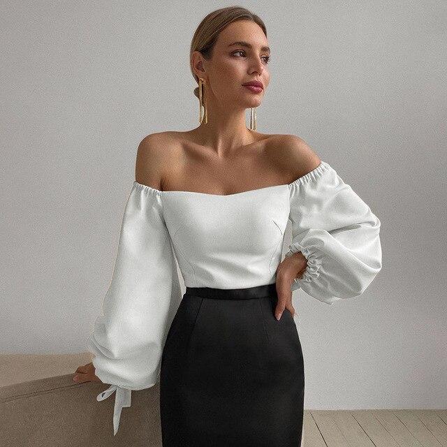 Sexy Off Shoulder Lantern Sleeve Blouse Shirt Women White Elegant Spring Autumn Office Lady Casual Loose Tops Temperament Shirt 2