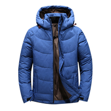 2019 new Men Winter Duck Down Male Parkas Jacket Coats Solid Hooded Casual Outwear jaqueta masculina Winter Down Coat 8710 cheap JUNGLE ZONE Thick (Winter) G8710 REGULAR zipper Denim Polyester Acetate White duck down Full Hat Detachable Button Pockets