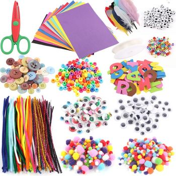 1set Premium New Art And Craft Kit Supplies Include Pipe Cleaners Feather And Felt Foam Balls For Kids And Toddlers Age