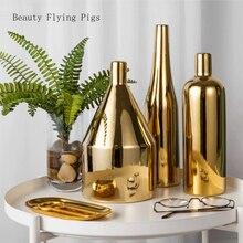 Creative Light Luxury Gold Hollow Cylindrical Ceramic Vase Simple Flower Arrangement Hotel Model Art Decoration Ornaments