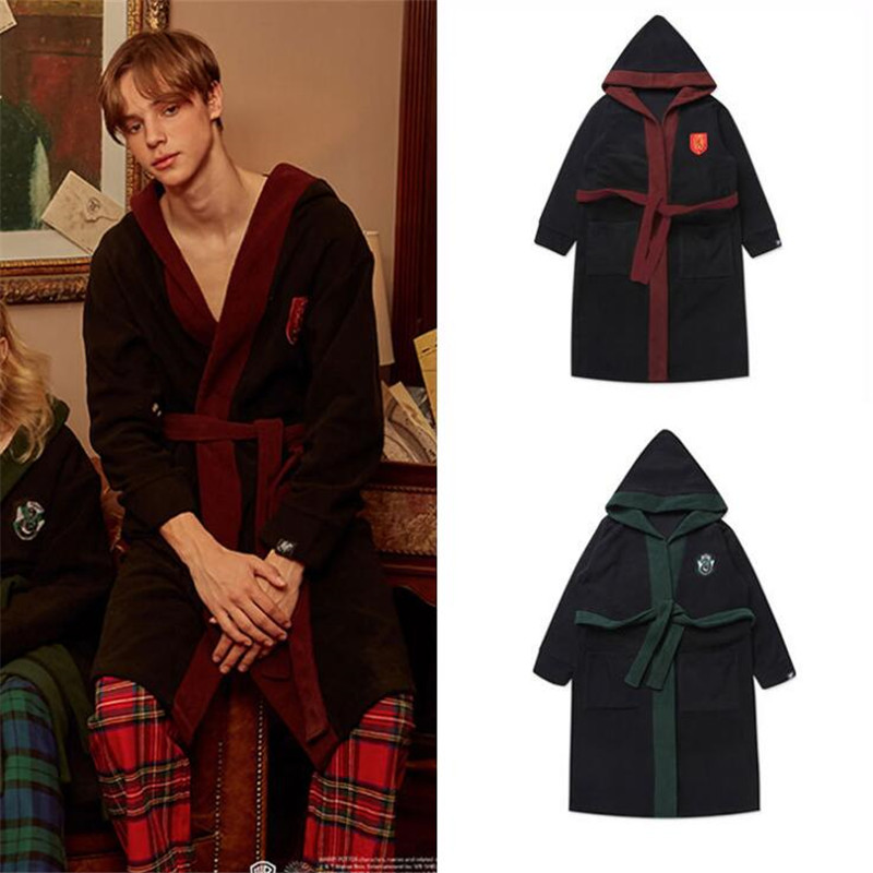 Film Television Periphery Badge Bathrobe Slytherin Gryffindor Magic School Night Gown Fashion Color Matching Home Loose Pajamas