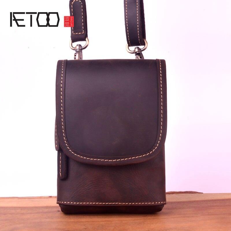 AETOO Simple mini mad horse leather one-shoulder slanted bag men's chest bag, hand-made head leather mobile phone bag waist bag