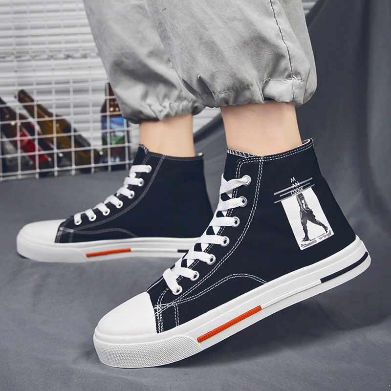 2019 новые стильные мужские высокие парусиновые ботинки для катания на коньках Осенняя обувь в Корейском стиле для отдыха в стиле знаменитостей обувь в стиле хип-хоп для мальчиков