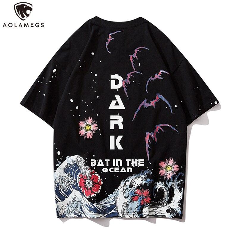 Aolamegs Men's T Shirt Japanese Retro Style Ukiyo-e Spray Printed Casual O-Neck Oversize Cozy Harajuku Hip Hop Streetwear Summer