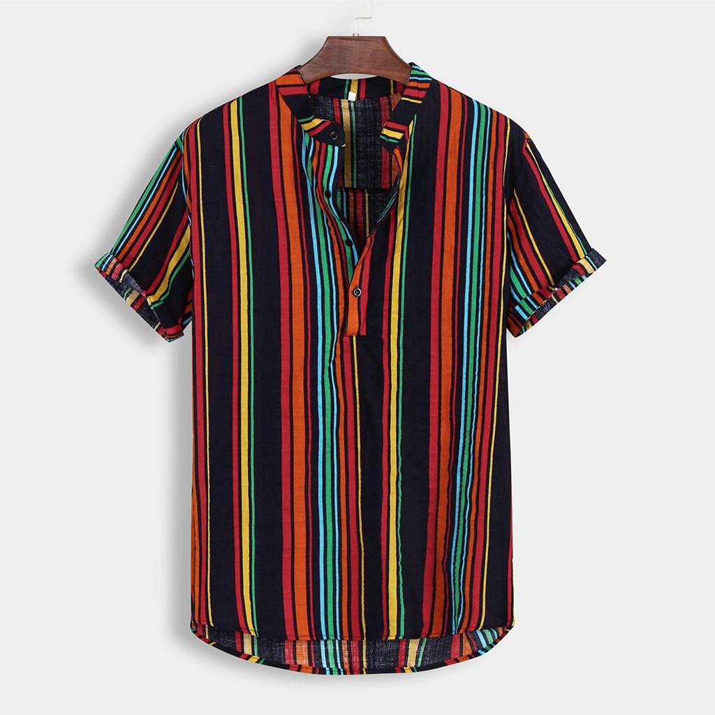 Summer Fashion Men Hawaiian Shirt Stand Collar Buttons Cotton Short Sleeve Beach Blouse Tee Tops Streetwear Chic Vacation Camisa