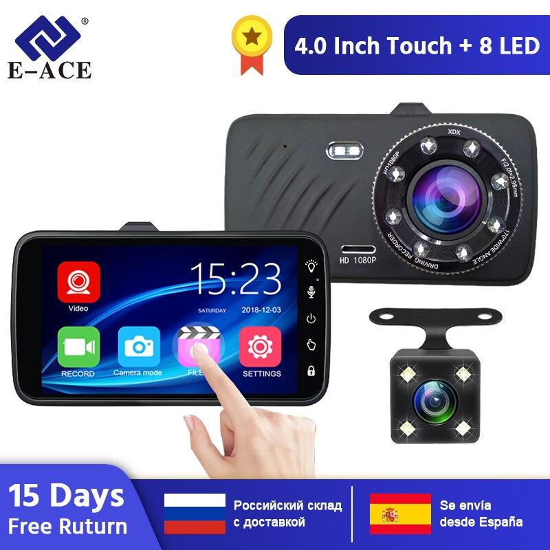 E-ACE Auto DVR 4,0 Zoll Mini Dashcam FHD 1080P Dash Kamera Video Recorder Nachtsicht Auto Kamera mit Hinten ansicht kamera Kanzler