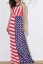 Maxi Patriotic American Flag Strapless Casual Dress noble strapless american flag pattern long dress for women