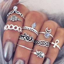 New 10 pcs/set Vintage  Women Elephant Stone Gold Silver Color Ring For Personality Cheap Jewelry Wholesale