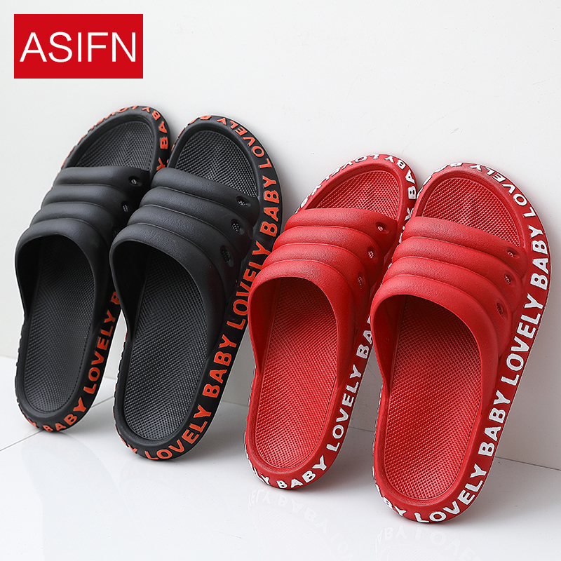 ASIFN Slippers Men Summer House Couple Women Slides Home Drag Bath Non-slip Bathroom Beach Flip Flops Male Zapatos De Hombre