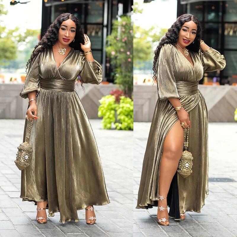 African Dresses for Women Luxury Golden Glitter Split V Neck Sexy Party Dress Long Tunic Night Club Robe Dresses Africaine Femme