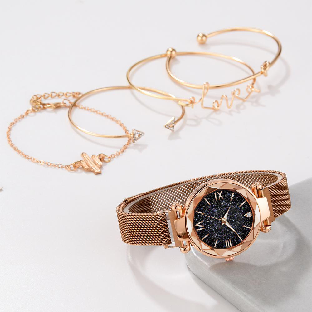 5pcs Set Luxury Women Watches Magnetic Starry Sky Female Clock Quartz Wristwatch Fashion Ladies Wrist Watch relogio feminino 2
