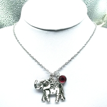 New Elephant Necklace,Ivory Stone and Birthstone, Paisley Elephant, Elephant Jewelry, Elephant Birthstone Necklace one amazing elephant